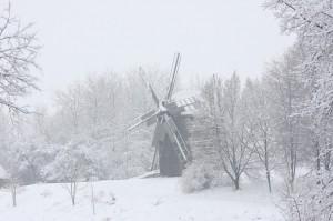 Музей архітектури, сніг, млин